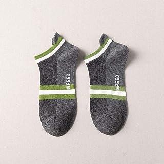 B/H, B/H Deportivas,Calcetines Cortos e Invisibles para Hombre y Mujer,Calcetines Deportivos de Barco de algodón para Hombre-Gris Oscuro + Verde_10pcs