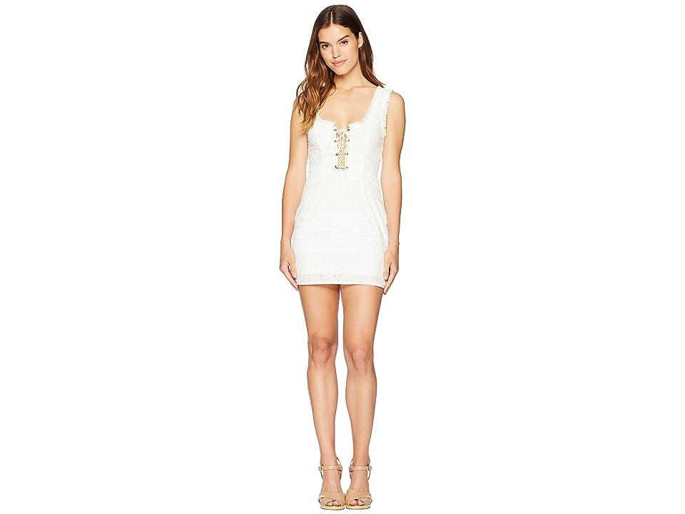 For Love and Lemons Charlotte Eyelet Lace-Up Dress (White Heart) Women