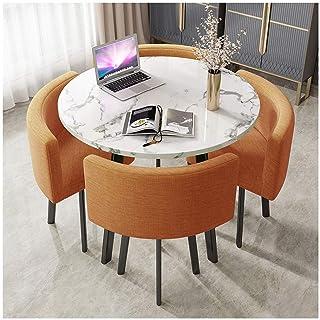 Équipement quotidien Table à manger ronde à la maison Table ronde en marbre 90cm Table de loisirs de bureau simple Pieds e...