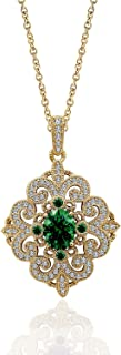 3 Carats Women's Swarovski Synthetic Emerald Antique Pendant with Cable Chain, Yellow Gold Plated Sterling Silver