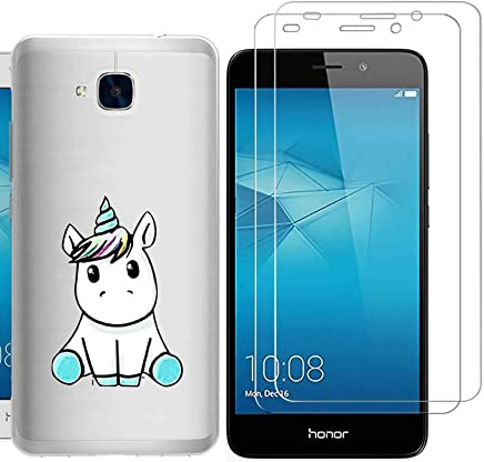 Huawei Honor 5C Case with 2 pack glass screen protector Phone Case for Men Women Girls ZDear Soft TPU with Protective Bumper Cover Case for Huawei Honor 5C-unicorn