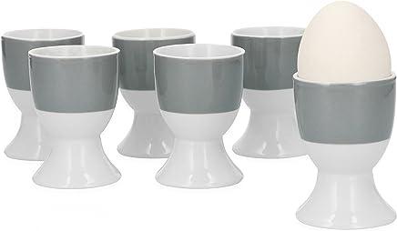 Van Well 6er Set Eierbecher Serie Vario Porzellan - Farbe wählbar, Farbe:grau preisvergleich bei geschirr-verleih.eu