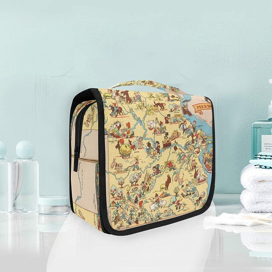 Vintage 1935 Missouri State Map Large Hanging Toiletry Bag Waterproof Cosmetic Bag Makeup Travel Pouch Purse Organizer Wash Gargle bag