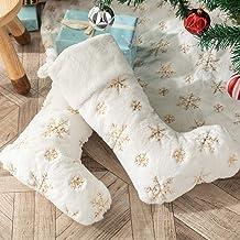 DegGod Red Christmas Pet Stocking, 2 Pack Personalized Dog Cat Paw Large Stocking Holders Gift Bag for Children Family Hol...