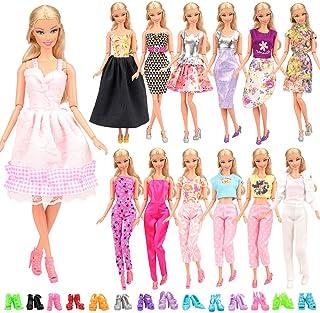Miunana 15 Stycken = 5 St Handgjorda Prinsessaklänningar Trendiga Modekläder + 10 St sSlumpmässigt Utvalda Skor För Barbie...