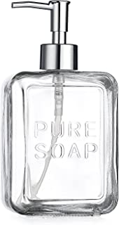 HC American Recreations Glass Bathroom or Kitchen Embossed Soap Pump Lotion Dispenser 20 Ounce, (Clear)