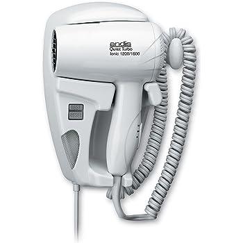 Andis 30975 1600-Watt QuietTurbo Wall Mounted HangUp Hair Dryer with Night Light, White