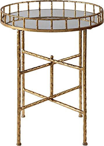 """discount Tilly popular 19 1/2"""" Wide Mirrored Bright Gold sale Leaf Accent Table outlet sale"""