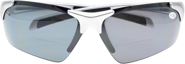 Bifocal Sunglasses with WrapAround Sport Design Half Frame Outdoor readingglasses men and women