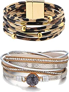2 Pcs Leopard Multi-Layer Leather Cuff Bracelet for Women Braided Handmade Wrap Bracelet Magnetic Clasp Bracelet for Girls