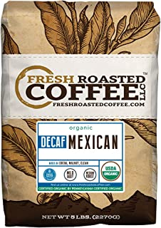 Fresh Roasted Coffee LLC, Organic Decaf Mexican Chiapas Coffee, Swiss Water Decaf, USDA Organic, Medium Roast, Whole Bean, 5 Pound Bag