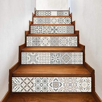 Pegatinas De Decoración De Escalera De Azulejos Árabes Autoadhesivas Calcomanías De Vinilo Para Escaleras Diy Renovación De Escalera Calcomanía De Pvc Escalera Escalera Mural 100Cmx18Cmx6 Piezas: Amazon.es: Bricolaje y herramientas