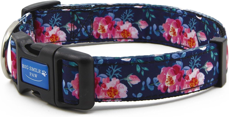Big Smile PAW Nylon Dog Collar Adjustable,Floral Theme Series (Peony, L)