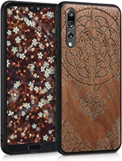 kwmobile Wooden Case for Huawei P20 Pro - Hard Case with TPU Bumper - Baroque Compass, Walnut
