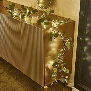 Decorative Eucalyptus Garland Lights  LED Lights with 96 Warm White Decorations Indoor  Battery Operated Decorative Lights...