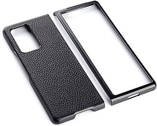 جراب Yhuisen نحيف للغاية مصمم لهاتف Huawei Mate X2 (2021) من الجلد الأصلي (اللون: أسود)