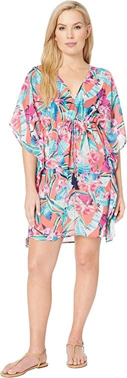 Orchid Grove Drawstring Tunic Cover-Up