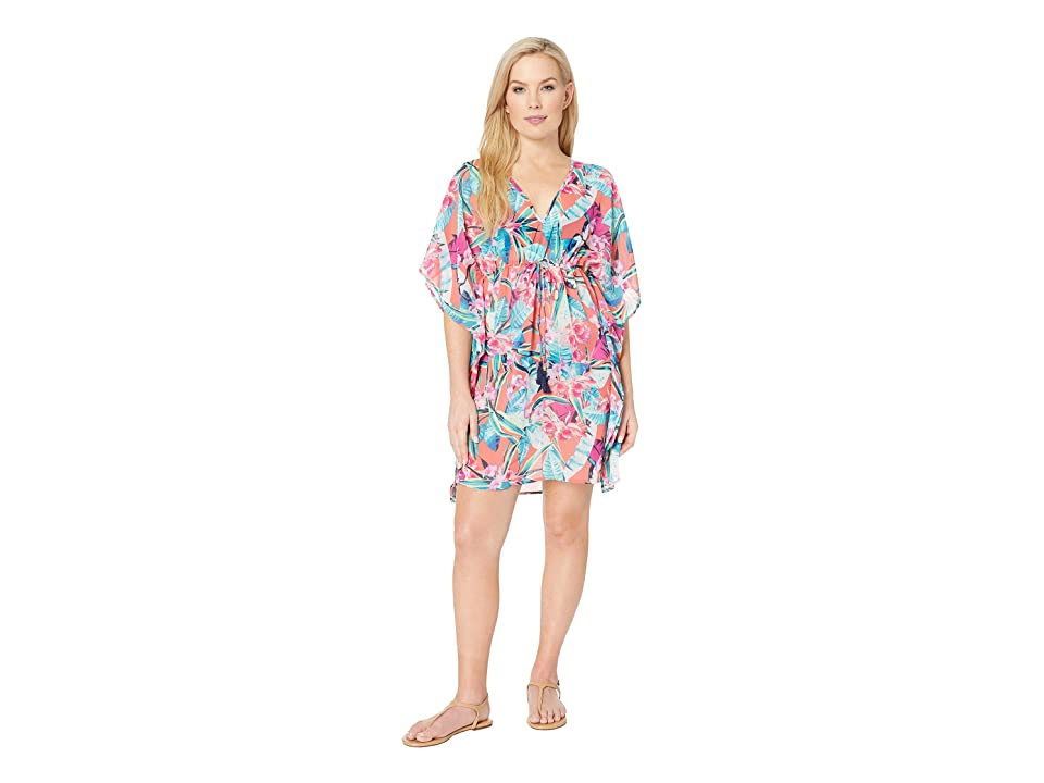 Tommy Bahama Orchid Grove Drawstring Tunic Cover-Up (Paradise Coral) Women