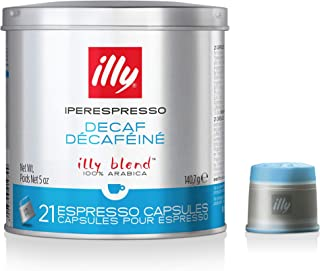 illy Coffee, iperEspresso Capsule, Decaffeinated Medium Roast Espresso Pod, 100% Arabica Bean Signature Italian Blend, Premium Gourmet Roasted Decaf, Compatible with illy iperEspresso Machines (21 ct)