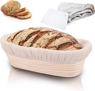 Rishaw Gärkörbchen Oval, ø 35 cm, Höhe 7 cm mit Leineneinlage und Teigkarte, Gärkorb Set für Hausgemachtes Brot fasst 850g Teig - Aus Natürlichem Peddigrohr & Handgemacht Oval