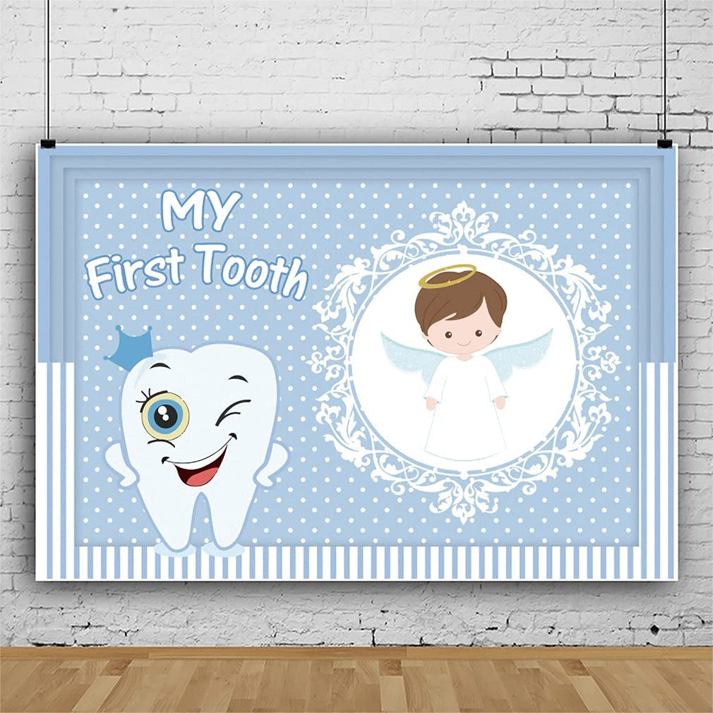 Leowefowa Max 60% OFF First Tooth Backdrop Free Shipping Cheap Bargain Gift 9x6ft Boy Blue 1st for Banner Too