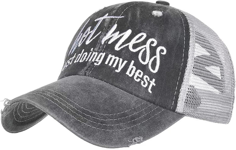 Baseball Cap Hot Criss Cross Ponytail Hat for Women Distressed Messy Bun Trucker Hat Pony Cap Hot Mess hat