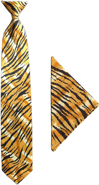 Jacob Alexander Men's Tiger Animal Print Clip-On Neck Tie and Pocket Square Set