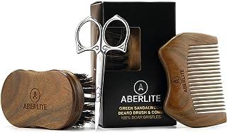 Aberlite Beard Straightening Brush Kit for Men - Beard Straightener Brush (Large) w/Extra-firm Boar Bristle - Sandalwood Beard Straightening Comb - Beard/Mustache Scissors