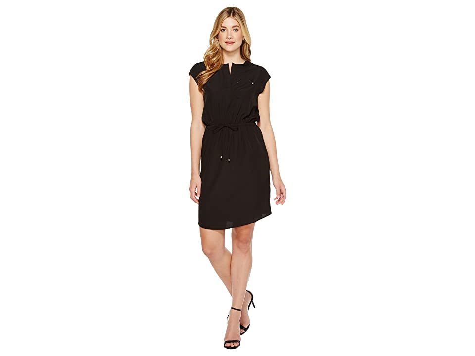 Ivanka Trump Short Sleeve Slit Neck Tie Waist Dress (Black) Women