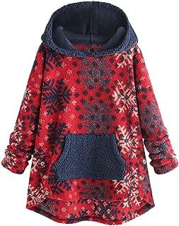 2019 New Women Fashion Snow Print Patchwork Plush Pocket Button Hoodie Sweatshirt Tops