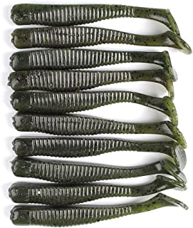 Dr.Fish 3in Floating Silicone Swimbait Shad Grub Worm for Bass Trout Surf Fishing Lures Freshwater Inshore 10 PCS