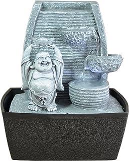 Zen'Light Fontaine d'Intérieur Mur Bouddha Rieur, Gris Pierre/Noir