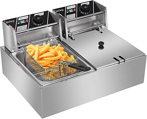 popular EH82 5000W MAX 110V 12.7QT/12L discount Stainless Steel Double outlet online sale Cylinder Electric Fryer US Plug outlet sale