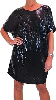 icecoolfashion Vestito Tunica da Donna in Paillettes per La Festa E La Sera 42-52 (Taglia Unica)
