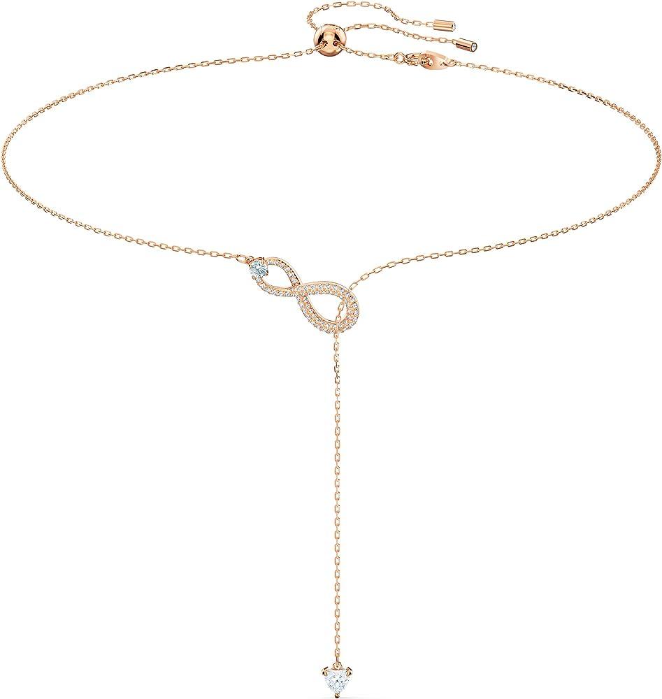 Collana da donna di swarovski in lega di metalli placcata oro rosa e zirconia white di colore cry 5521346