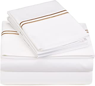 Pinzon 400-Thread-Count Egyptian Cotton Sateen Hotel Stitch Sheet Set - Queen, Taupe