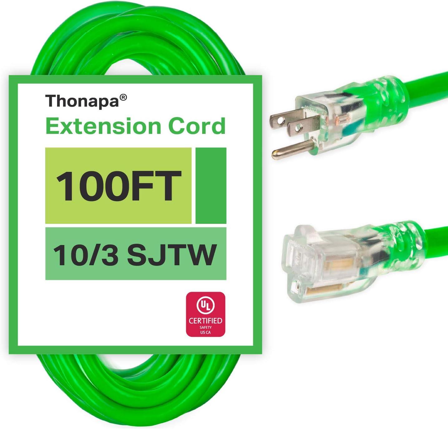 100 Foot Outdoor Extension Cord - Neon Daily bargain sale mart 3 Green 10 SJTW Gauge
