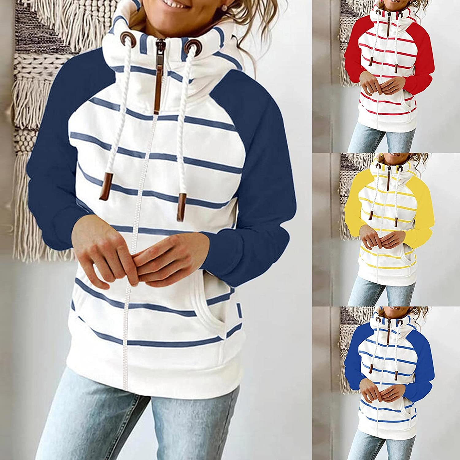 Sweatshirts for Women Pullover,Women's Crewneck Sweatshirts Tops Fashion Loose Long Sleeve with Pocket Pullover Shirts