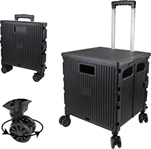 Olympia Tools Grand Rolling Collapsible Storage Utility cart with Telescopic Handle , Folding Portable Rolling Wheel Trolley,80 Lb. Load Capacity, Smooth Wheels for Travel Shopping Mobile Baggage Office use ,Black
