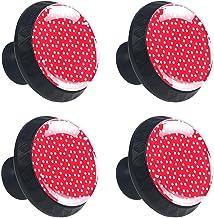4 stks Kabinet Knoppen Lade Dressoir Handvatten Witte Ster Patroon Kerst Rood voor Kamer, Keuken, Kantoor en Badkamer