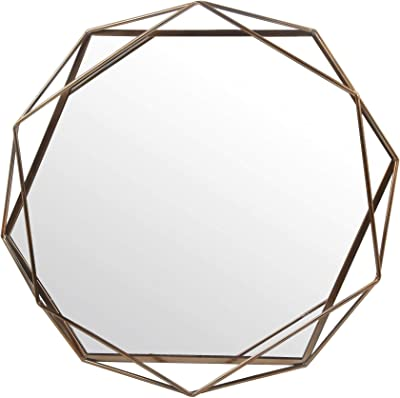 Rivet Modern Metal Lattice-Work Octagonal Mirror Gold Finish 22.25H