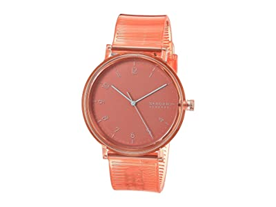 Skagen Aaren Transparent Three-Hand Watch (SKW6603 Coral Silicone) Watches