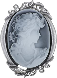 Silvery Tone Clear Crystal Colored Rhinestones Grey Vintage Cameo Lady Brooch Pin