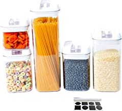 Airtight Food Storage Containers - Set of 5 Plastic Cereal Containers BPA-Free with Easy Lock Lids for Kitchen Pantry Orga...