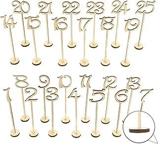 Nrpfell Numeros de mesa de boda de madera 1-25 pzs Decoracionde aniversario juego de