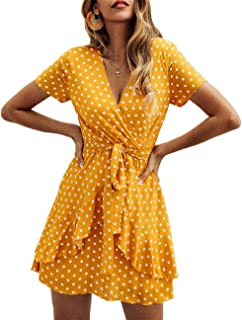 Women V Neck Short Sleeve Polka Dot Floral Pattern A-Line Tie Belt Short Dress with Ruffle Irregular Hem