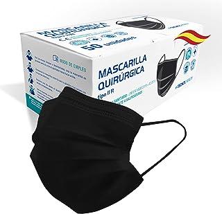 TECNOL Mascarilla Quirúrgica IIR Negra - 1a Fábrica Española ISO Sanitaria AENOR - BFE > 99% - 50uds - Sin Grafeno - Cómod...