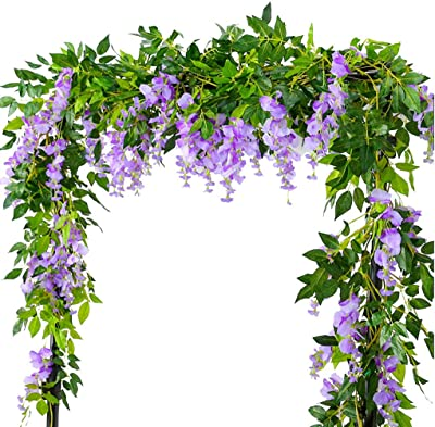 6.6FT 2 Pack Artificial Wisteria Flowers Fake Garland Hanging Silk Ivy Vine Wedding Party Home Garden Wall Decoration, Lavender