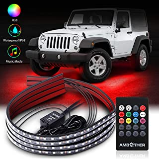 AMBOTHER Car Neon Underglow Lights Waterproof RGB LED Strip Light Multi-colored Underbody Exterior Lighting Kit with Music Mode, Wireless Remote Control, Adjustable Brightness, DC 12V, 4 Pcs