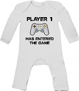 ShirtStreet Geek Nerd Gamer Baby Strampler Langarm Schlafanzug Jungen Mädchen Player 1 has entered the Game